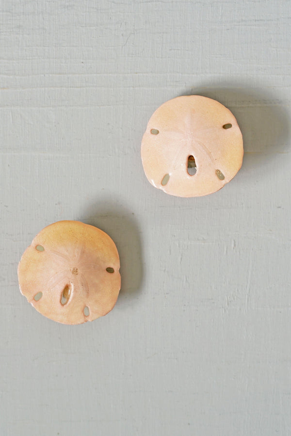 Vintage Pink Sand Dollar Clip-On Earrings