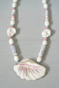Beautiful Vintage Painted Ceramic Beaded Shell Pendant Necklace