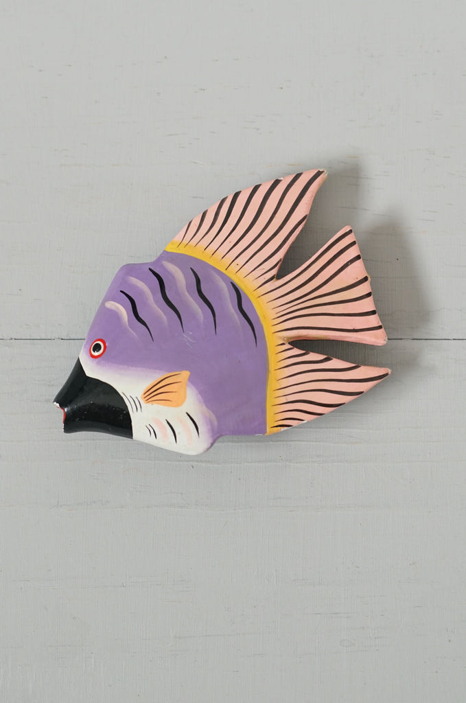Vintage 1980s Big Painted Wood Fish Hair Barrette Clip