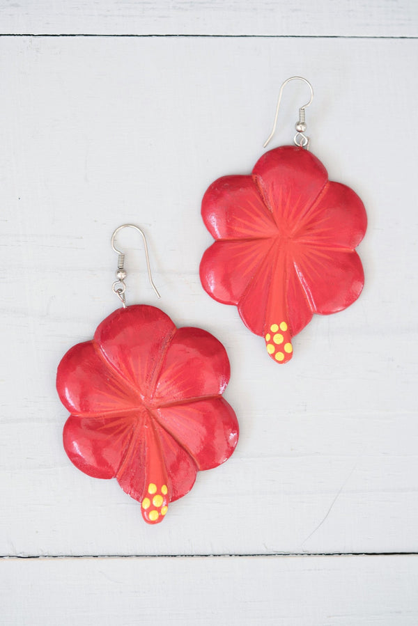 Vintage Red Wooden Dangle Hibiscus Flower Earrings
