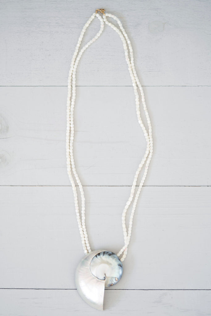 Long Mother-of-Pearl Beaded Necklace With Large Shell Pendant