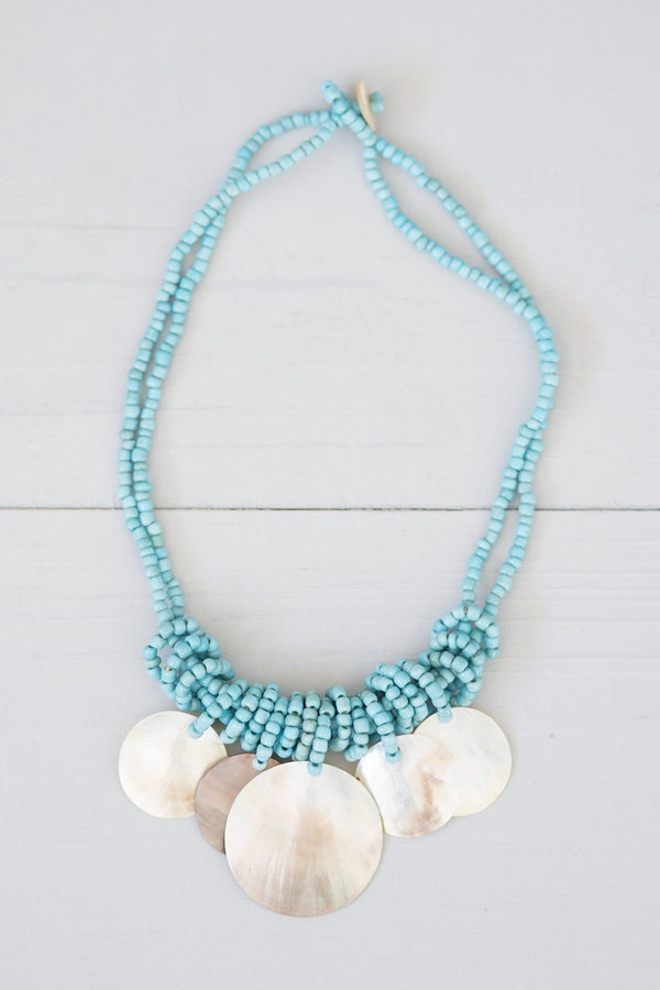 Pale Blue Beaded Capiz Shell Necklace