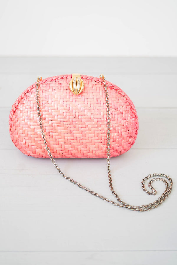 Vanessa Pink Wicker Glam Purse With Gold Clasp