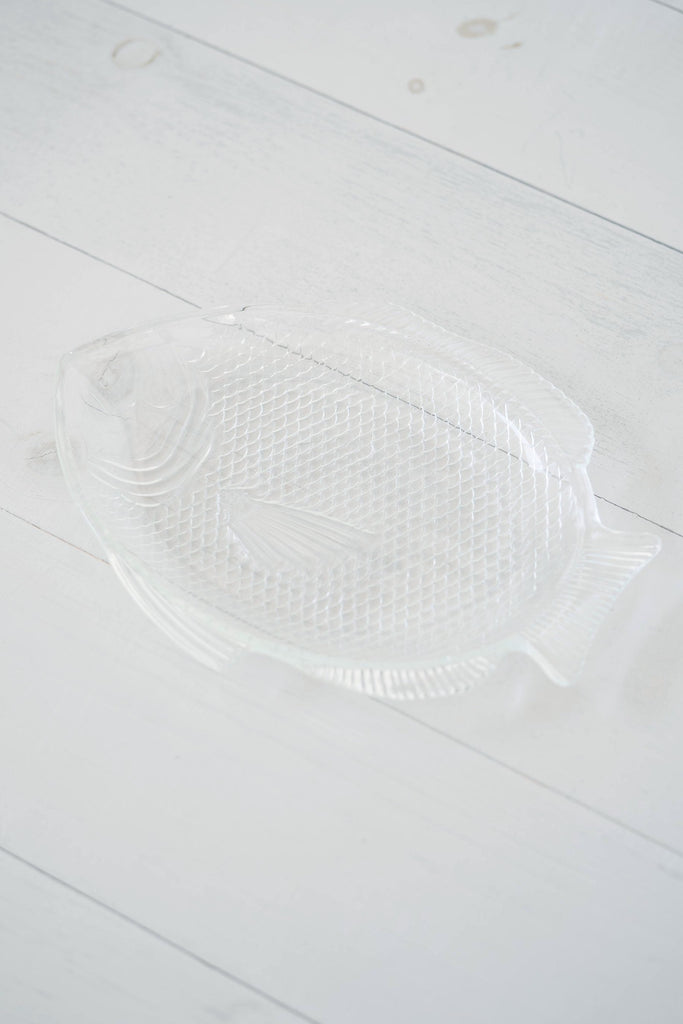 Textured Clear Glass Fish Serving Tray