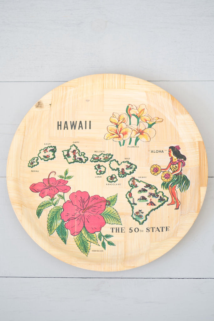 Vintage Hawaii Souvenir Round Bamboo Serving Tray