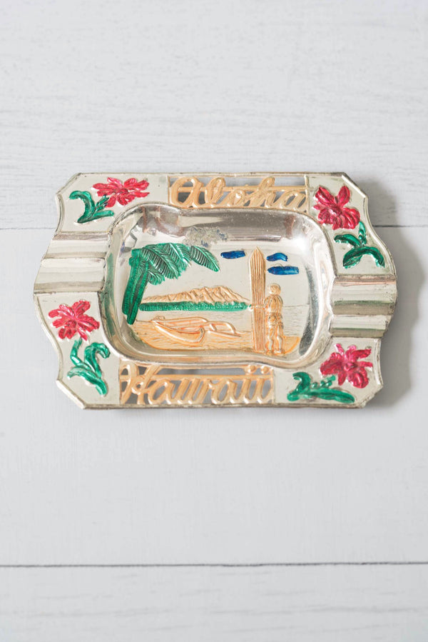 Vintage Aloha Hand-Painted Hawaii Metal Ashtray / Catchall
