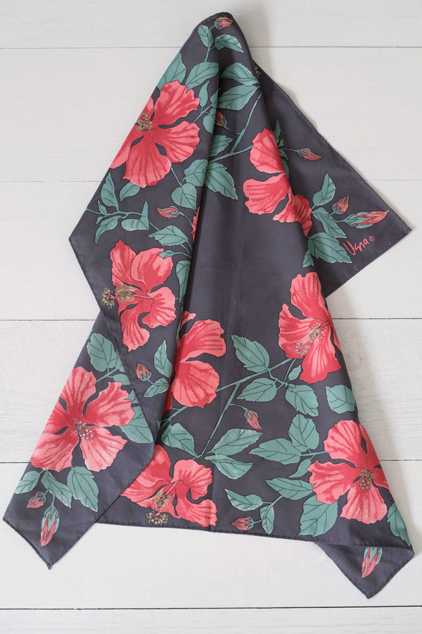 Vintage Vera Black and Red Polyester Hibiscus Flower Scarf