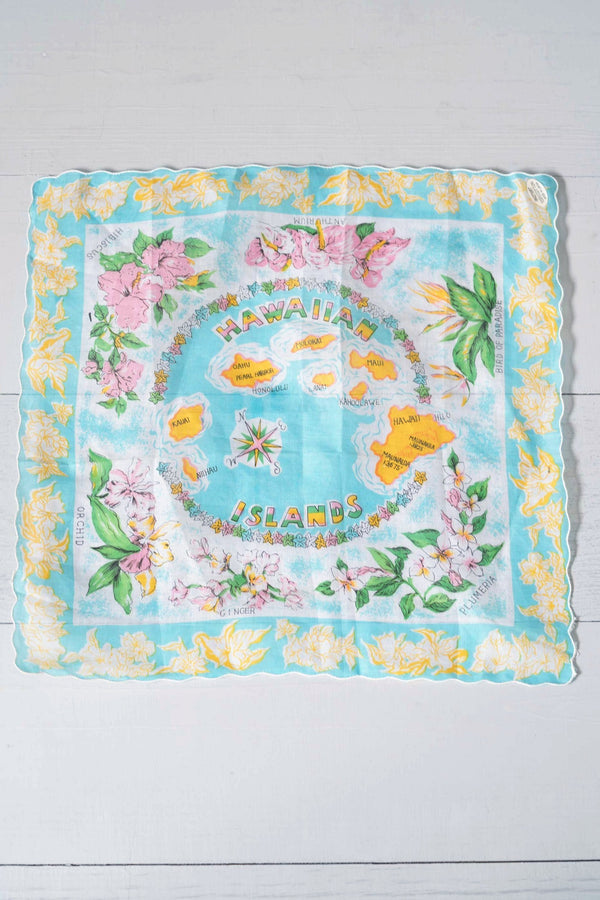 Small Vintage Pretty Pastel Hawaiian Islands Aloha Hankie