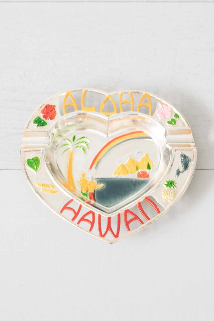 Vintage Heart-Shaped Aloha Hawaii Metal Ashtray Catchall