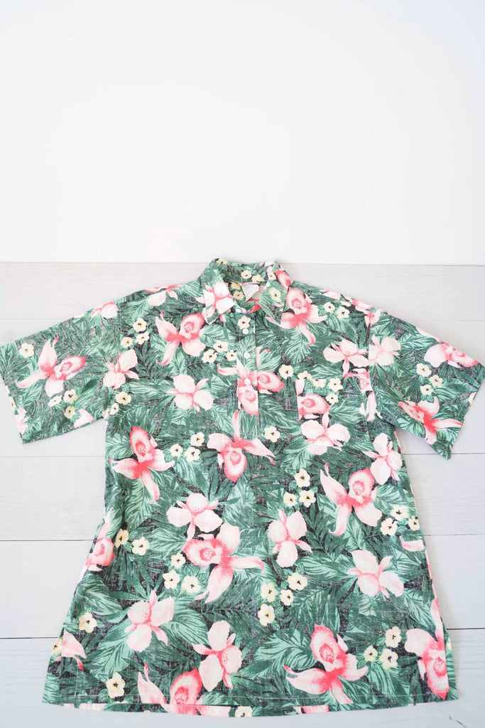 Men's Sun-Bay Pink Palm and Orchid Button-Up Shirt