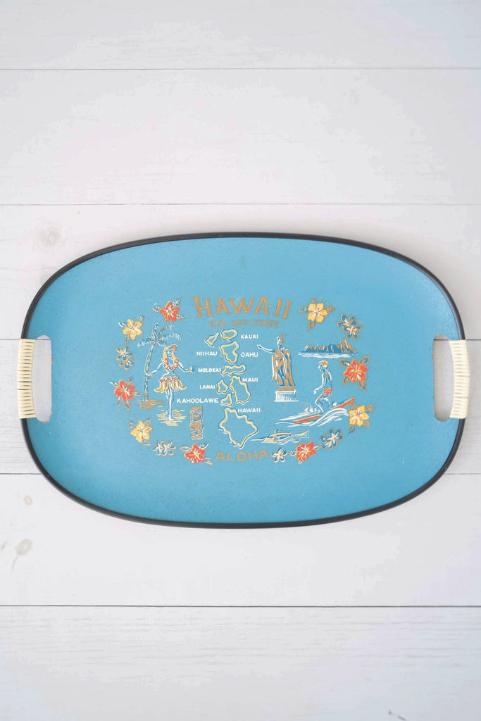 Vintage Large Blue Tilso Hawaii 50th State Fiberglass Serving Tray With Aloha Drawings
