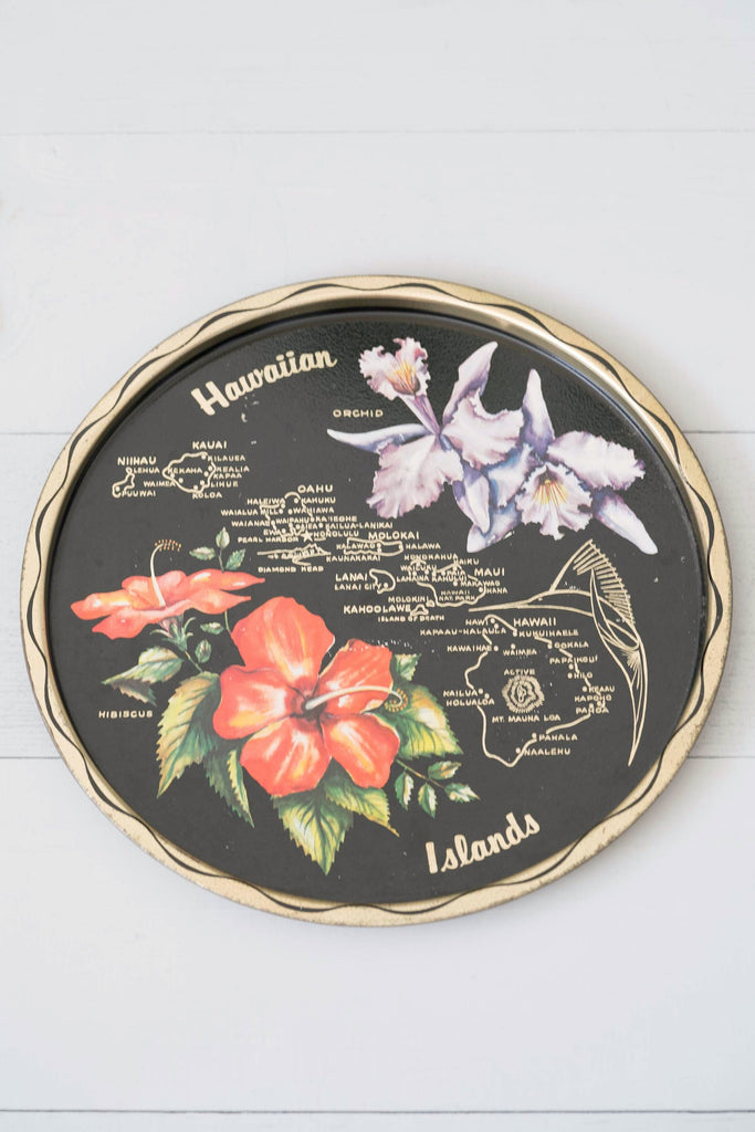 Vintage Black Round Metal Hawaiian Islands Tray