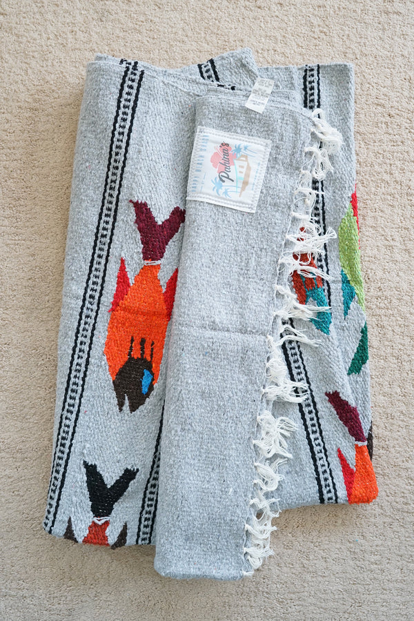 Happy Beach Shack Blanket in Mako Gray Fish
