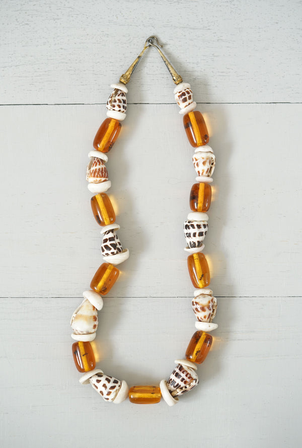 Vintage Leopard Cone Shell and Amber Bead Necklace