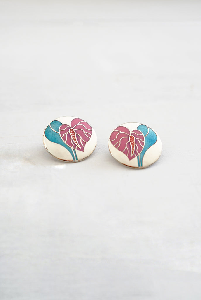 1980s - 1990s Anthurium Flower Enamel Disc Earrings by Laurel Burch