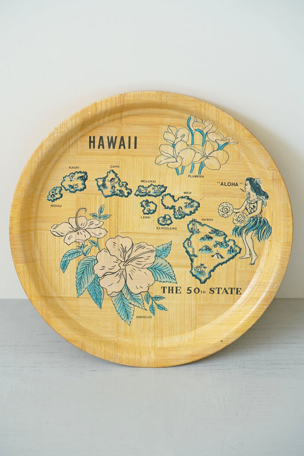Vintage Hand-Woven Bamboo Hawaii Hula Girl Tray