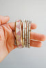 Set of 5 Brass and Pink to Purple Abalone Layering Bangle Bracelets