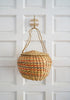 Vintage Round Woven Straw Bucket Basket Bag