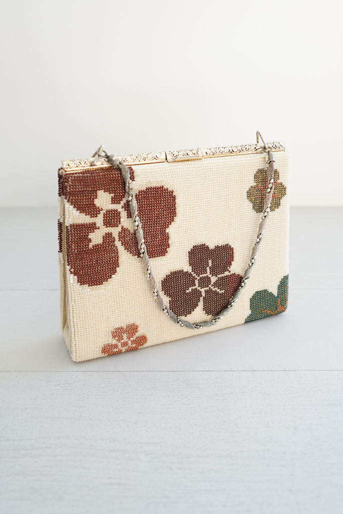 Vintage Mod Beaded Flower and Silver Filigree Handbag / Purse