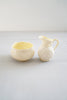 Vintage Collectible Belleek Snail Shell Iridescent Yellow Porcelain Creamer and Sugar Bowl Set