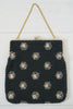 Vintage 1950s Corde-Bead Black Flower Starburst Purse