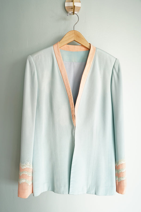 Classy Vintage Blue and Pink Structured Blazer Suit Jacket With Matching Neck Scarf