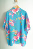 Vintage 80s-90s Mervyn's Paradise Beach Club Blue and Pink Men's XL Hawaiian Button-Up Shirt