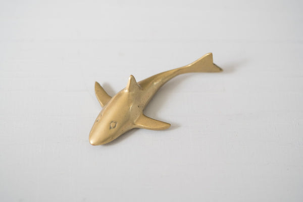 Vintage Brass Shark Paperweight Object