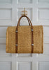 Vintage 1960s - 1970s Woven Straw and Palm Yellow / Orange Starburst Tote Bag
