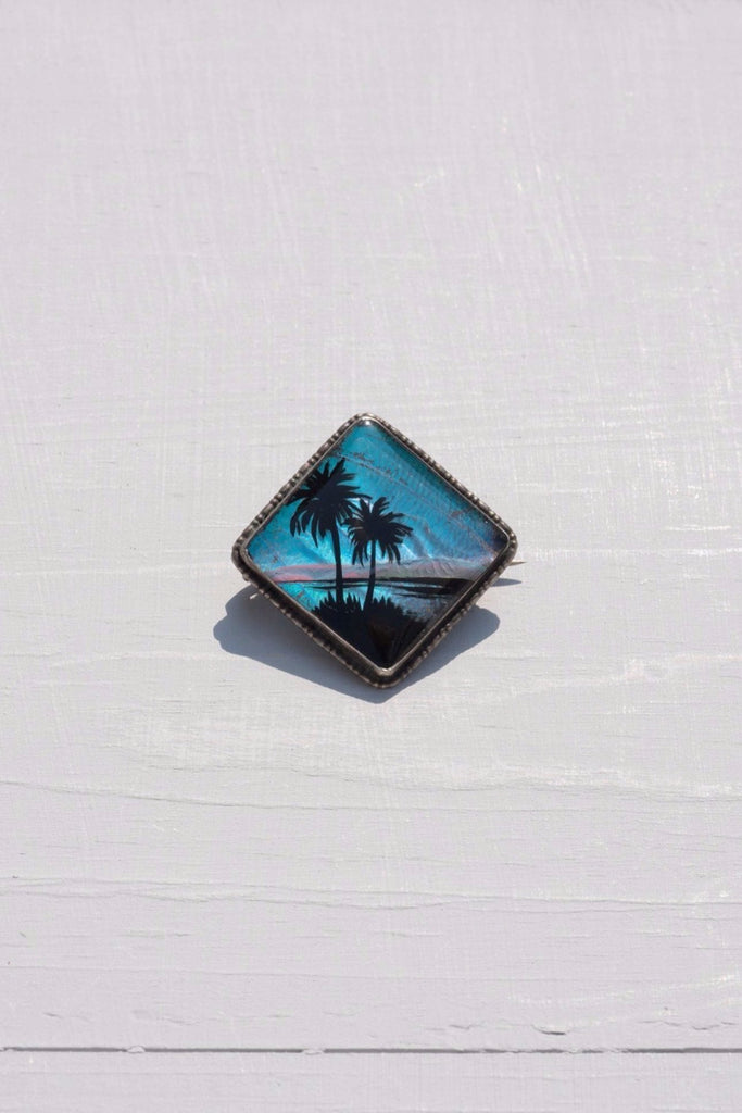 Vintage Sterling Silver Palm Tree Pin Made With Butterfly Wings