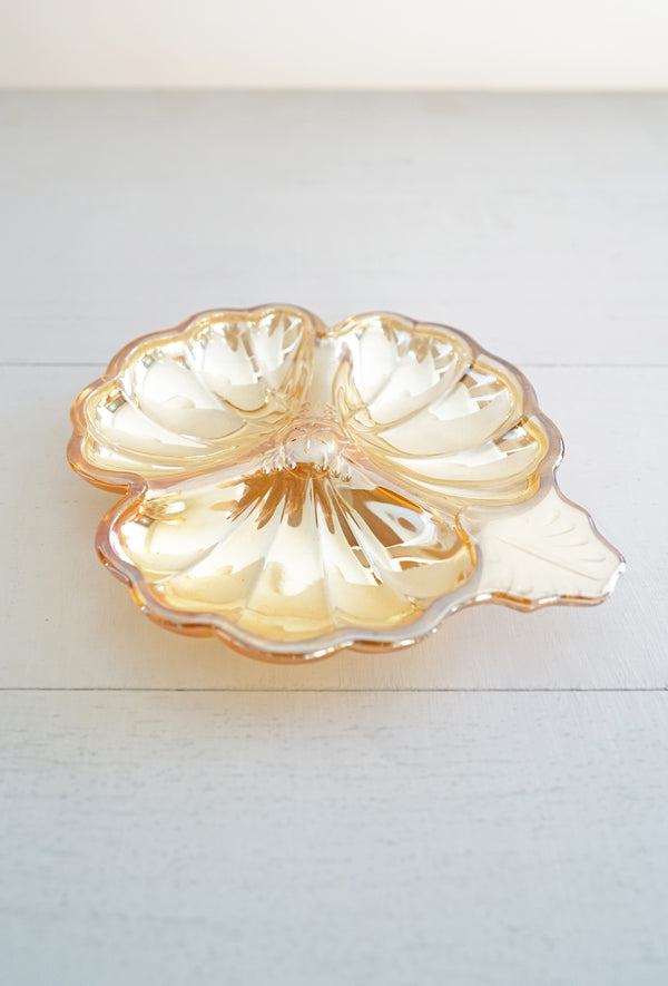 Vintage Peach Carnival Glass Hibiscus Flower Dish