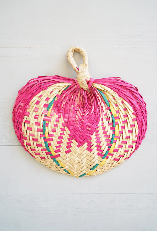 Colorful Handwoven Heart-Shaped Palm Fan