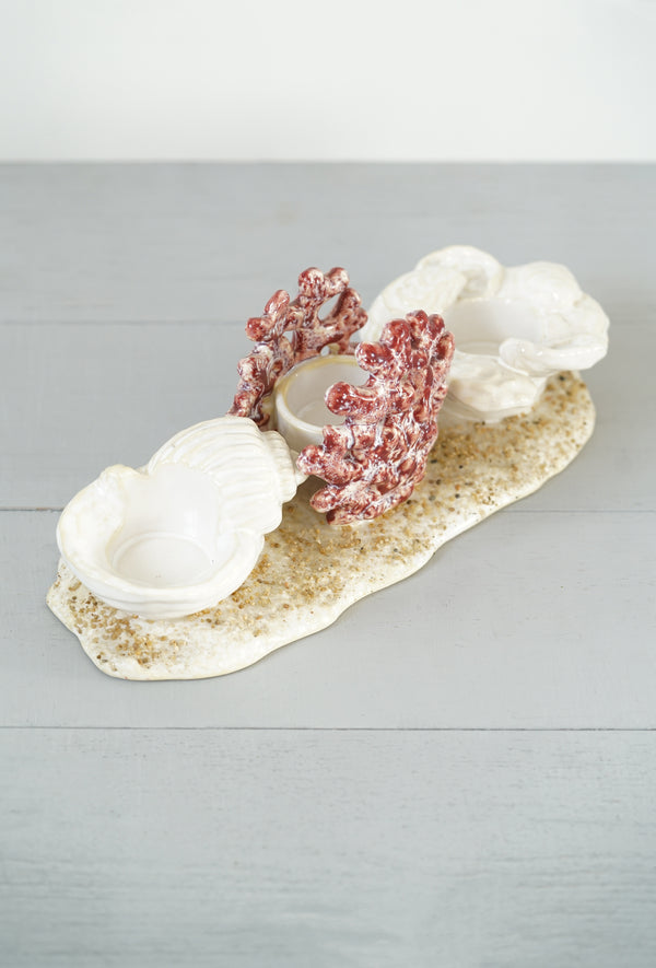 Abigails Ceramic Beach Votive Candle Holder - Coral, Shell, and Sand