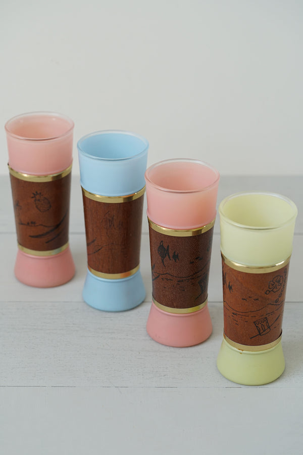 Vintage 1960s Set of 4 Hawaiian Siesta Ware Frosted Glass and Mahogany Tumblers