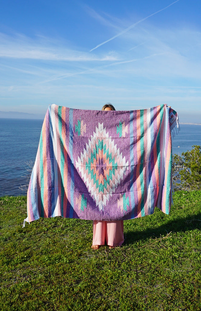 Happy Beach Shack Blanket in Orchid Purple Diamond