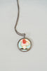 Vintage Baroni Designs Sterling Silver Enamel Flower Pendant Necklace