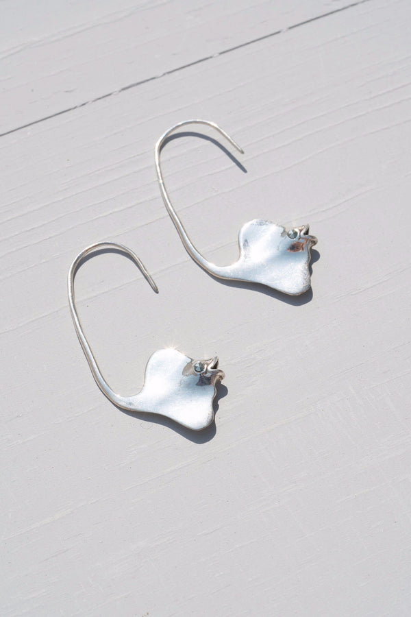Vintage Edgy Sterling Silver Tropical Angel Fish Dangle Earrings