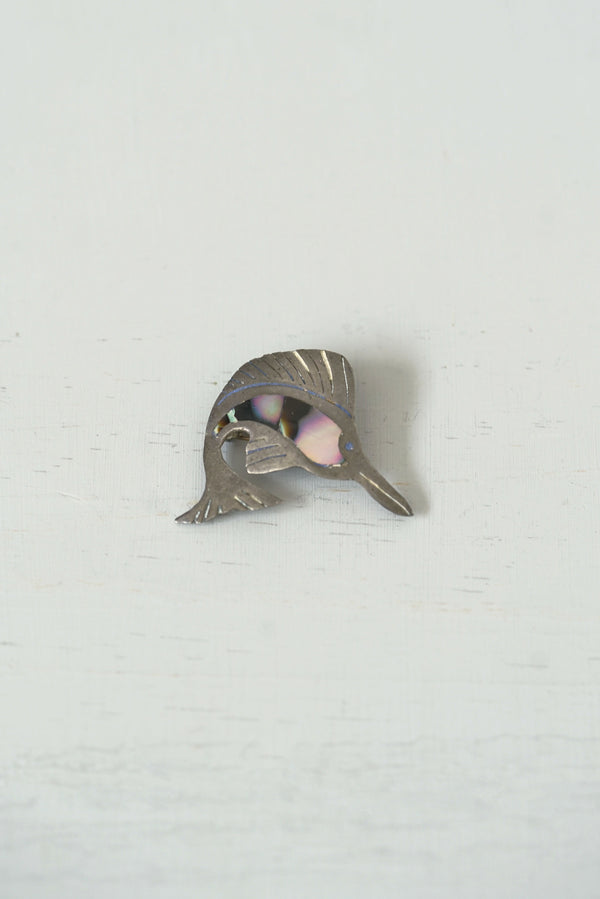 Vintage Sterling Silver Abalone Sailfish Pin