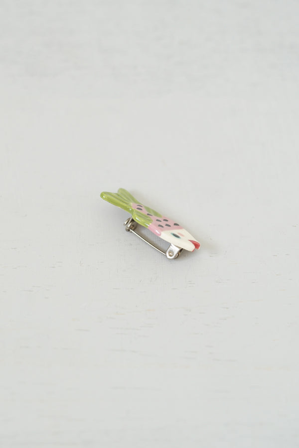 Little Hand-Painted Pink and Green Ceramic Happy Fish Pin