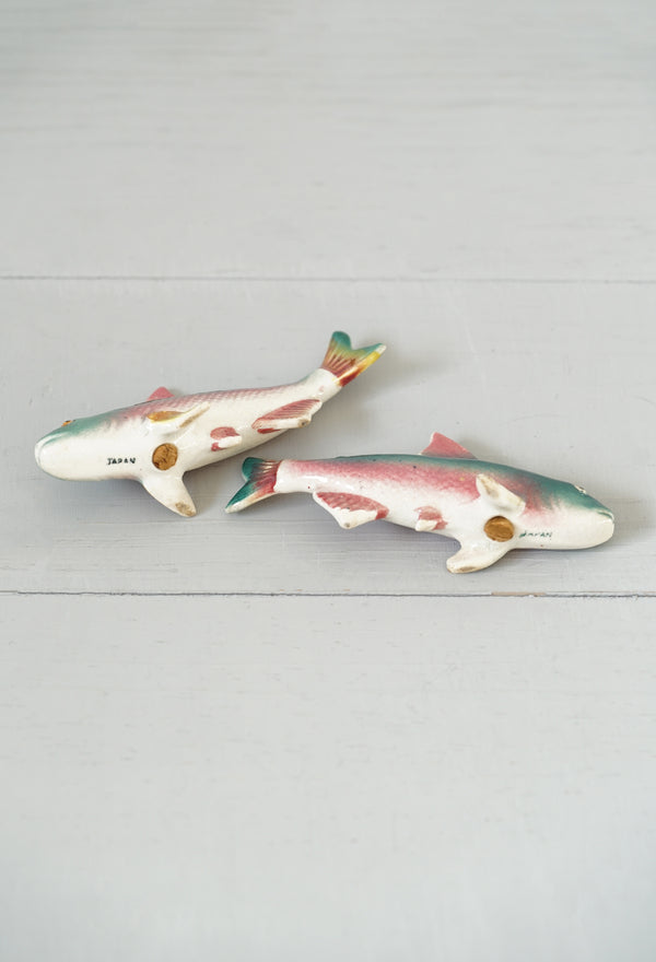Vintage Japanese Hand-Painted Porcelain Fish Salt and Pepper Set