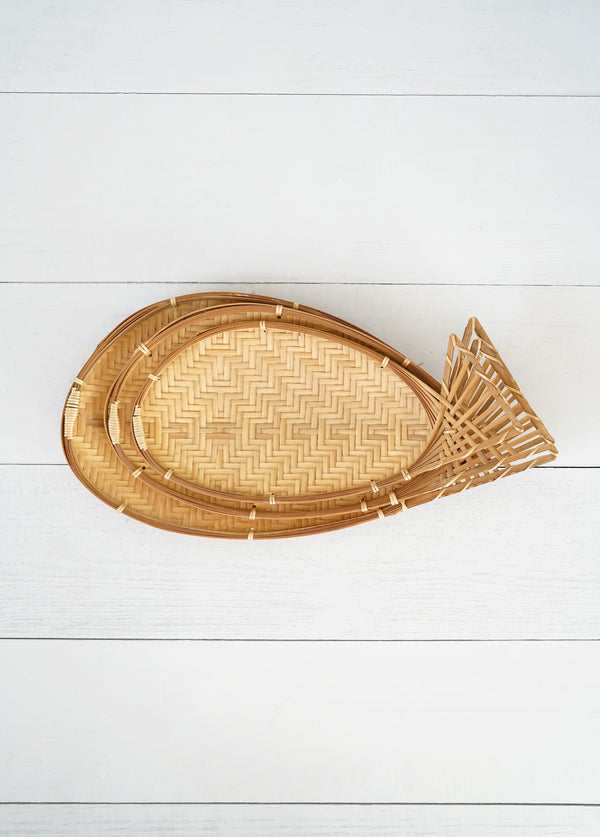 Vintage Mod Set of 3 Stacking Rattan Fish Trays