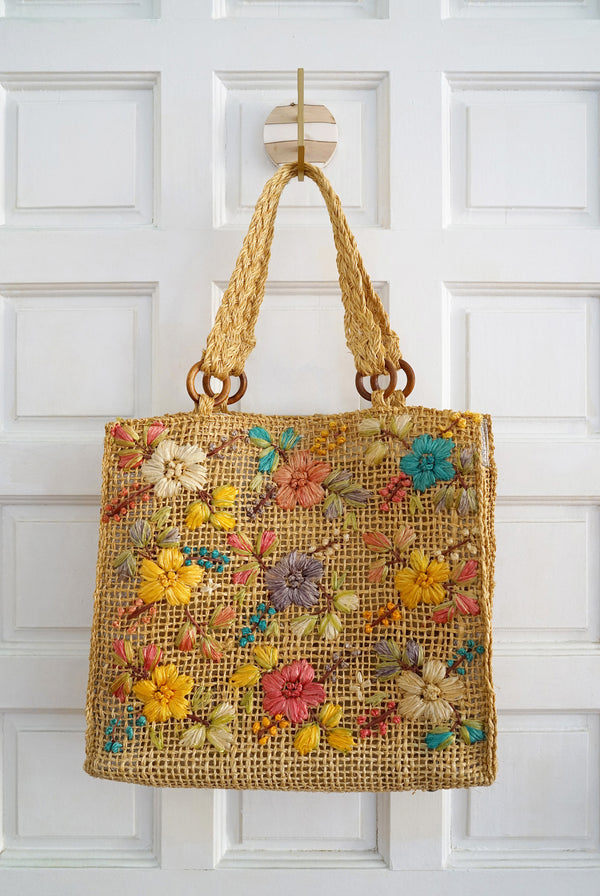 Vintage Handwoven Straw and Multicolor Raffia Flowers and Wood Tote Bag