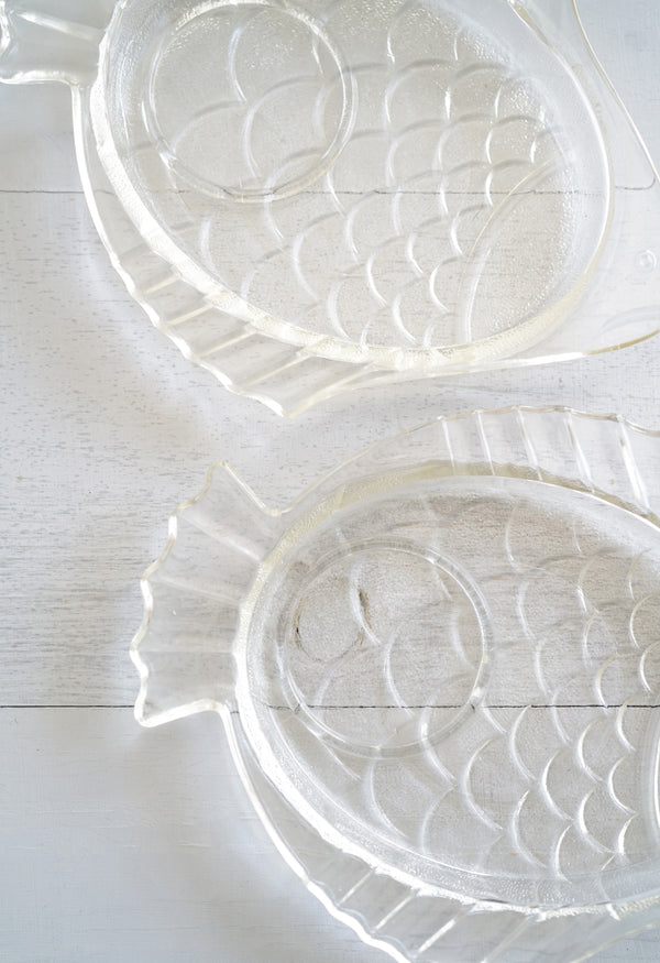 Cute Vintage Set of 2 Glass Stacking Fish Snack Plates