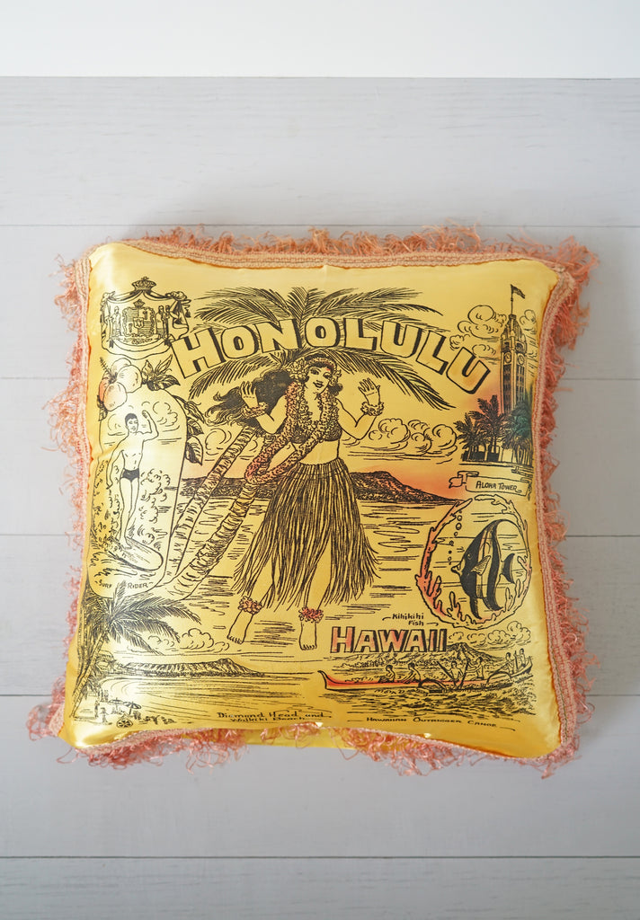 Vintage 1940s - 1950s Honolulu Hawaii Gold and Pink Hula Silky Fringe Pillow