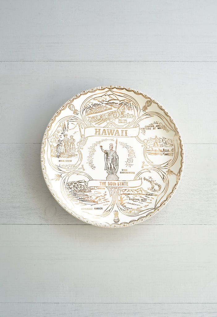 Vintage Gold and Cream Hawaii 50th State Souvenir Aloha Plate