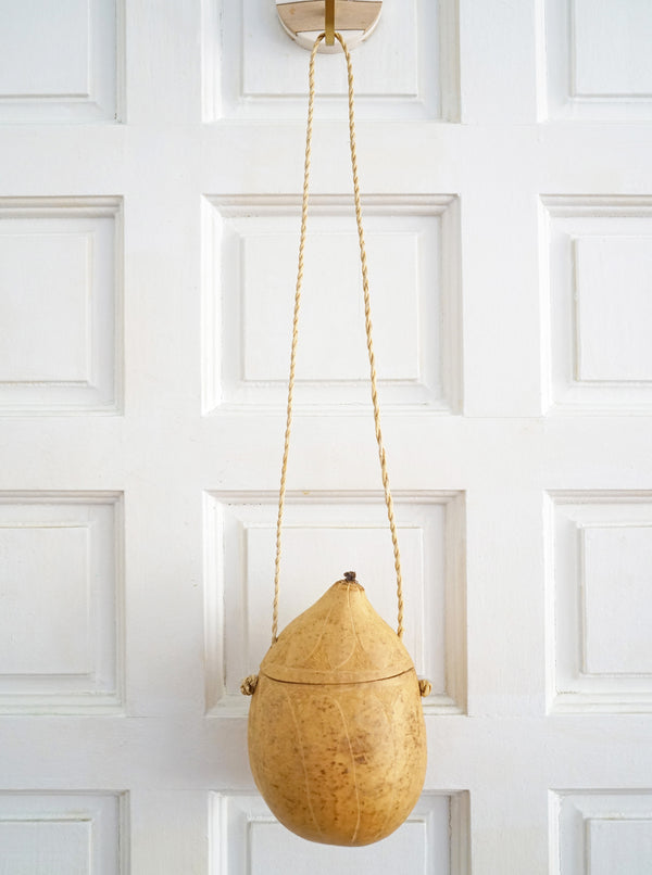 Hand-Carved Small Gourd Bucket-Style Purse