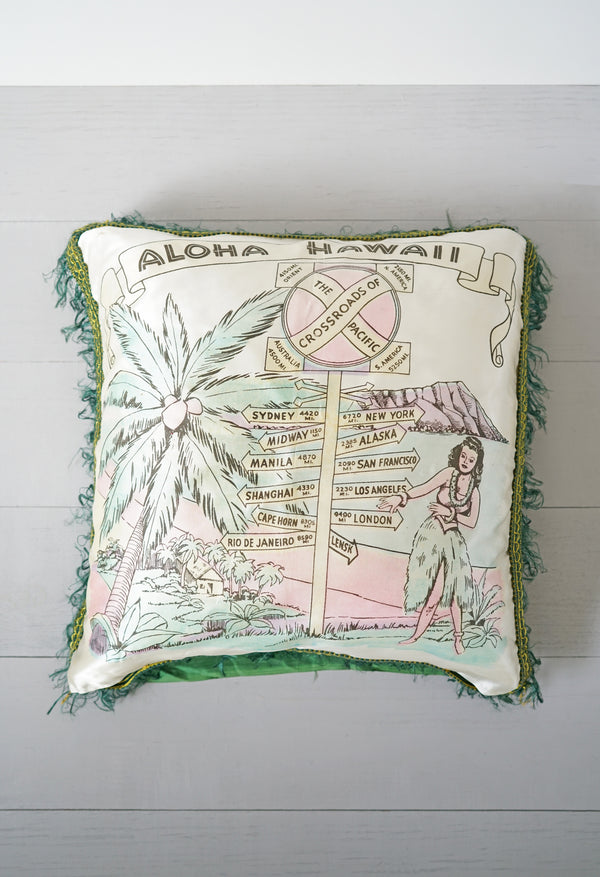 Vintage 1940s - 1950s Aloha Hawaii Hula Girl Crossroads Silky Pink and Green Fringe Pillow