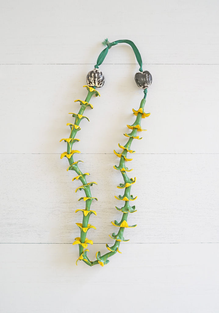 Vintage Green and Yellow Rubber Flower and Kukui Nut Hawaiian Lei Necklace