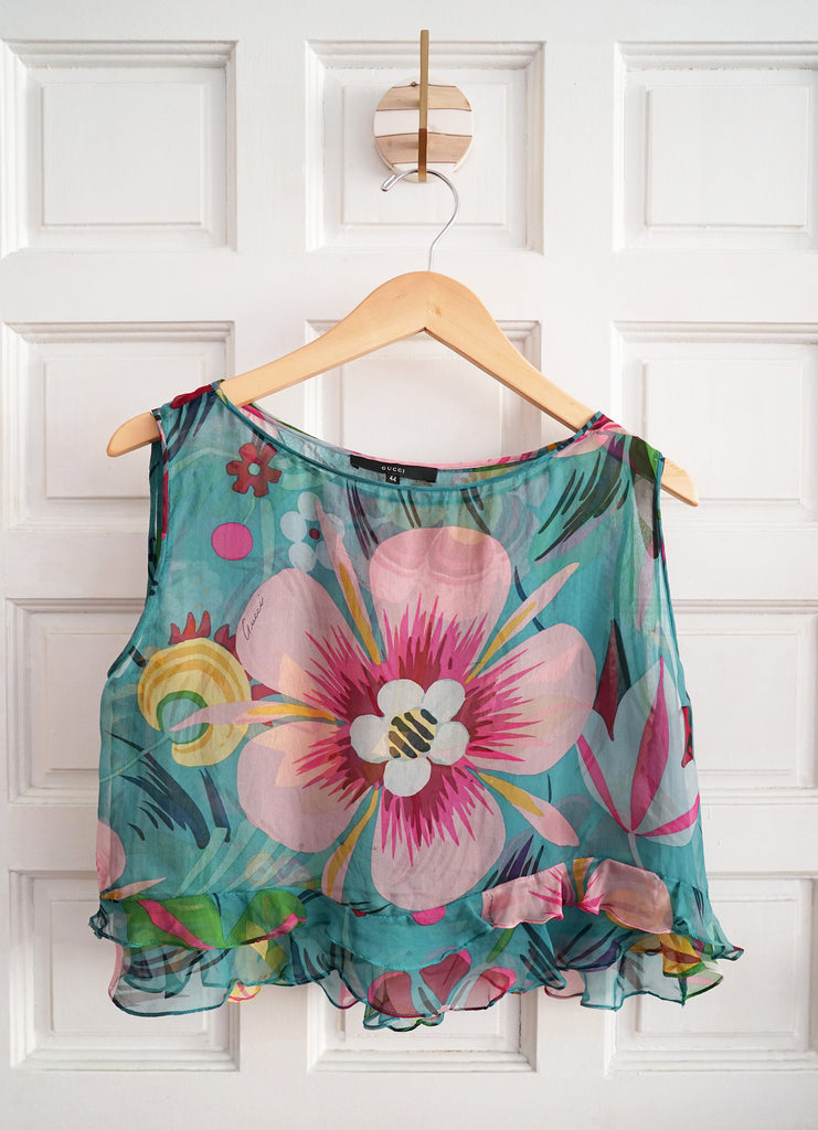 Rare Gucci 1990s Sheer Colorful Mod Flower Ruffle Top