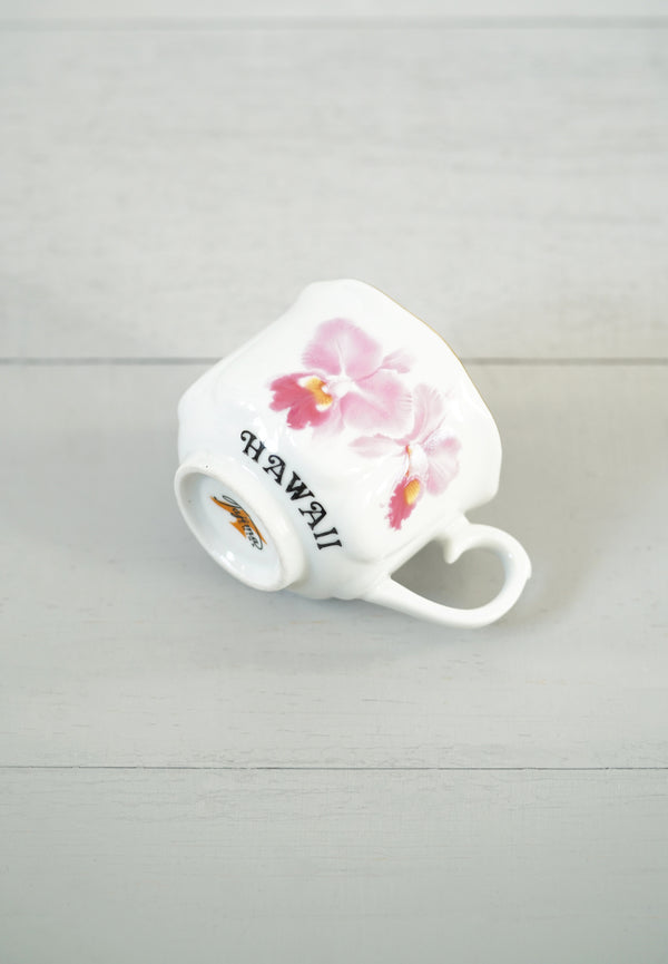 "Vintage Tajima ""Hawaii"" Pink Orchid Flower Teacup"